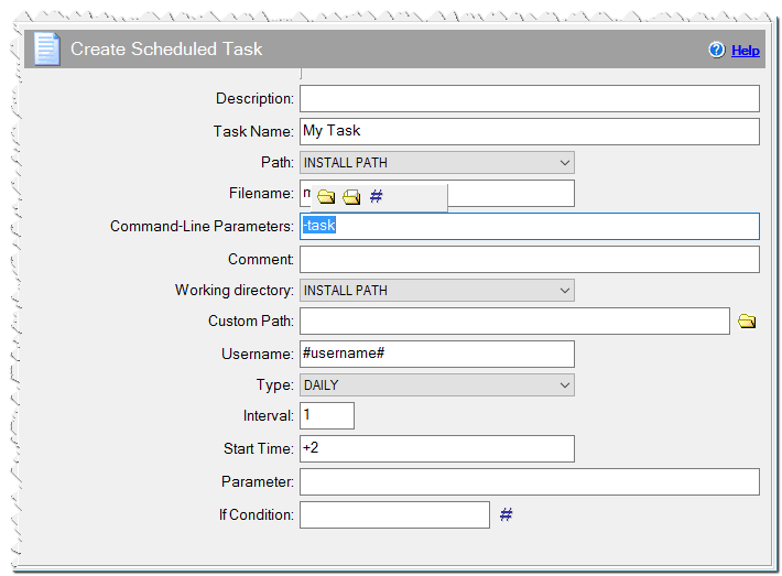 Create Scheduled Task command