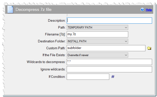 Decompress 7z file command