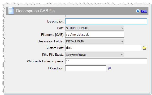 Decompress CAB file command