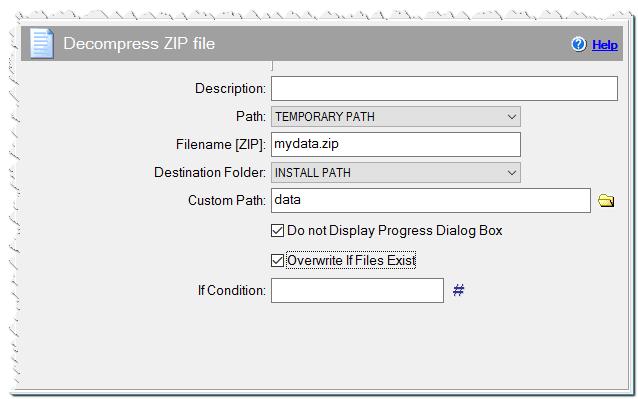 Decompress ZIP file command