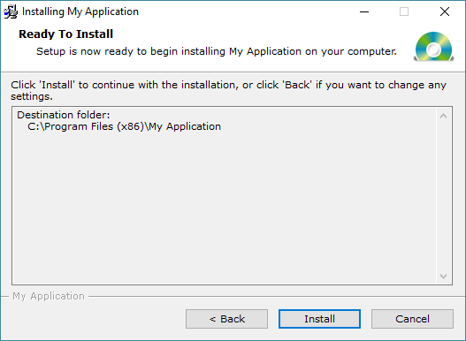Example of Dialog - Ready To Install