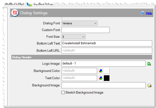 Dialog settings of the installation