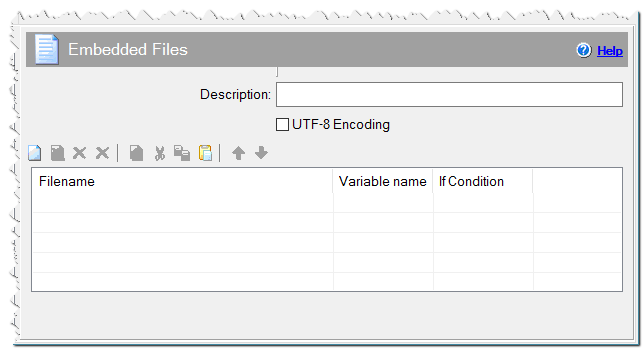 Embedded files command