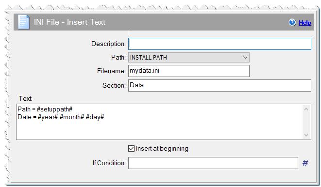 INI file – Insert text command