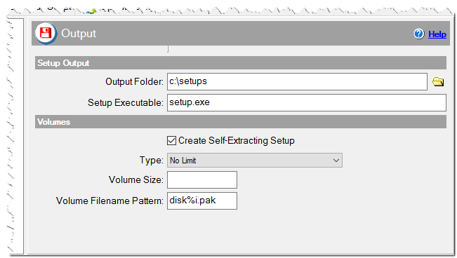 Output settings of the installation