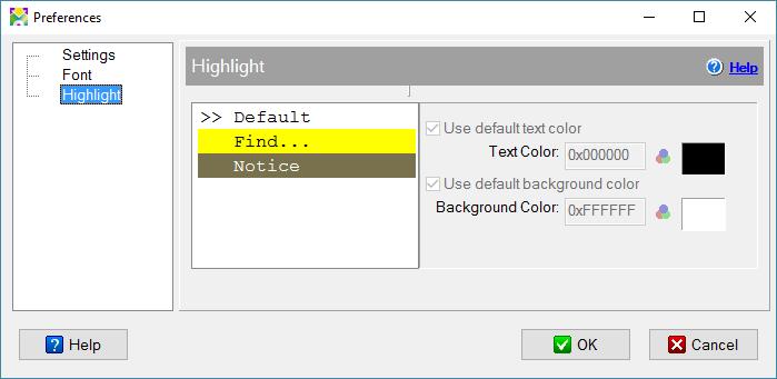 Highlight settings