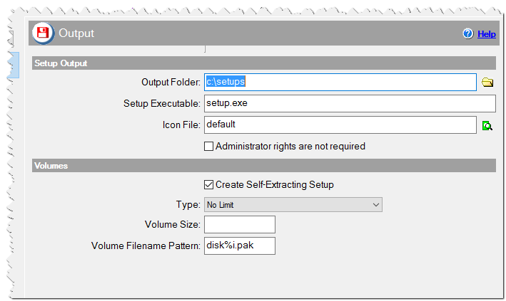 Output Settings in CreateInstallAssistant installer