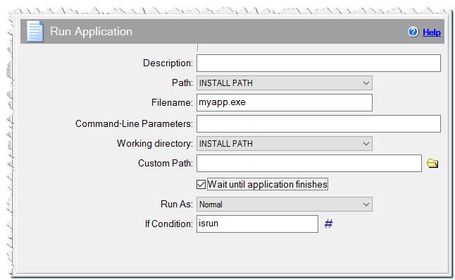 Run application command