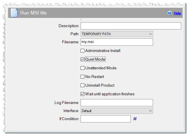 Run MSI file command