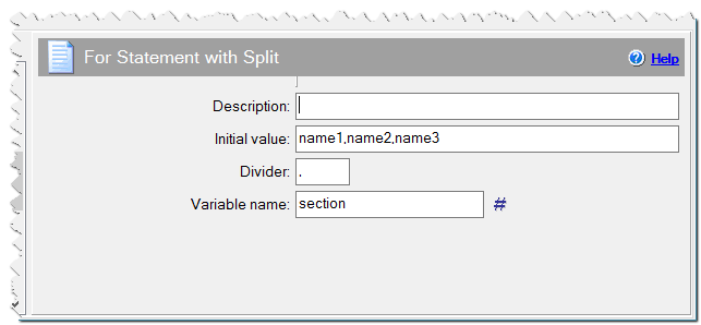 For statement with Split command