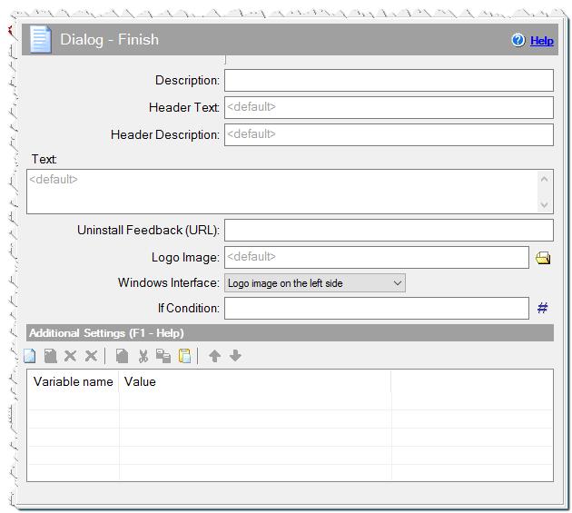 Dialog - Finish (Uninstaller) command