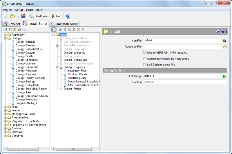 CreateInstall - freeware and trial installer software for
